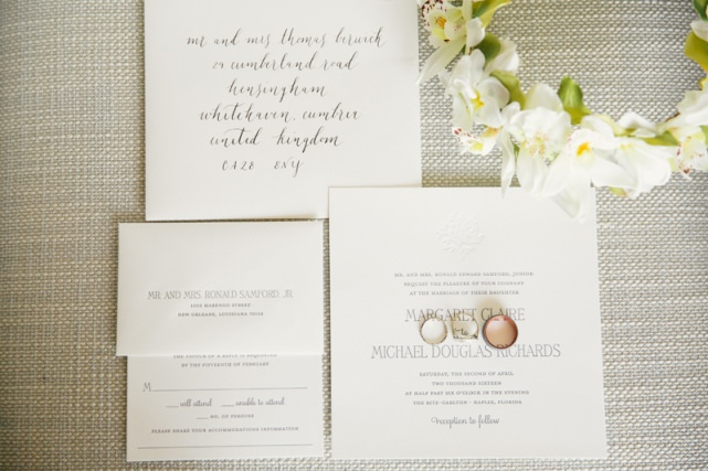 Classic White Wedding Invitation Suit