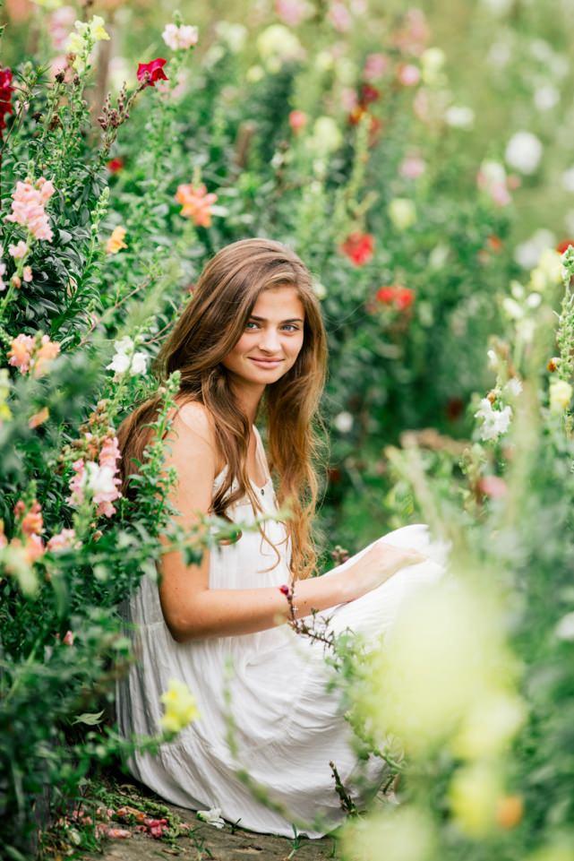Senior Photos in a Flower Field